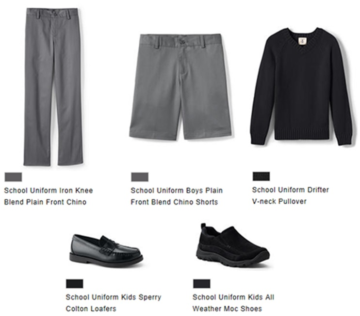 b6a0dd62453fe Optional PE Uniform to purchase through Lands  End online store (school  code 900121807) (PE days only)  Black Pants